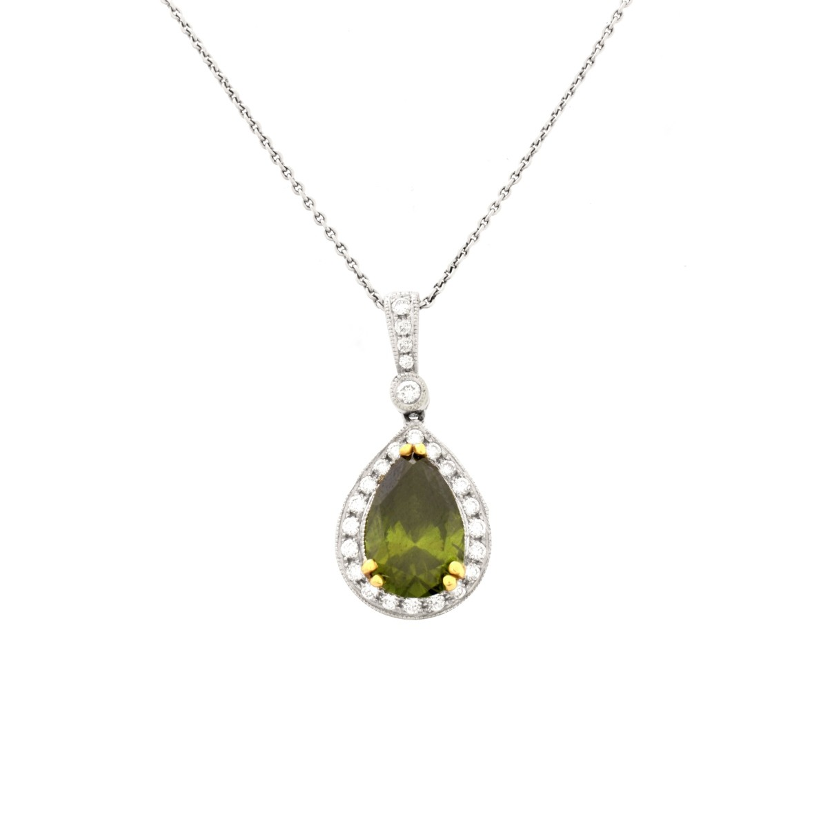 Green Diamond and 18K Necklace