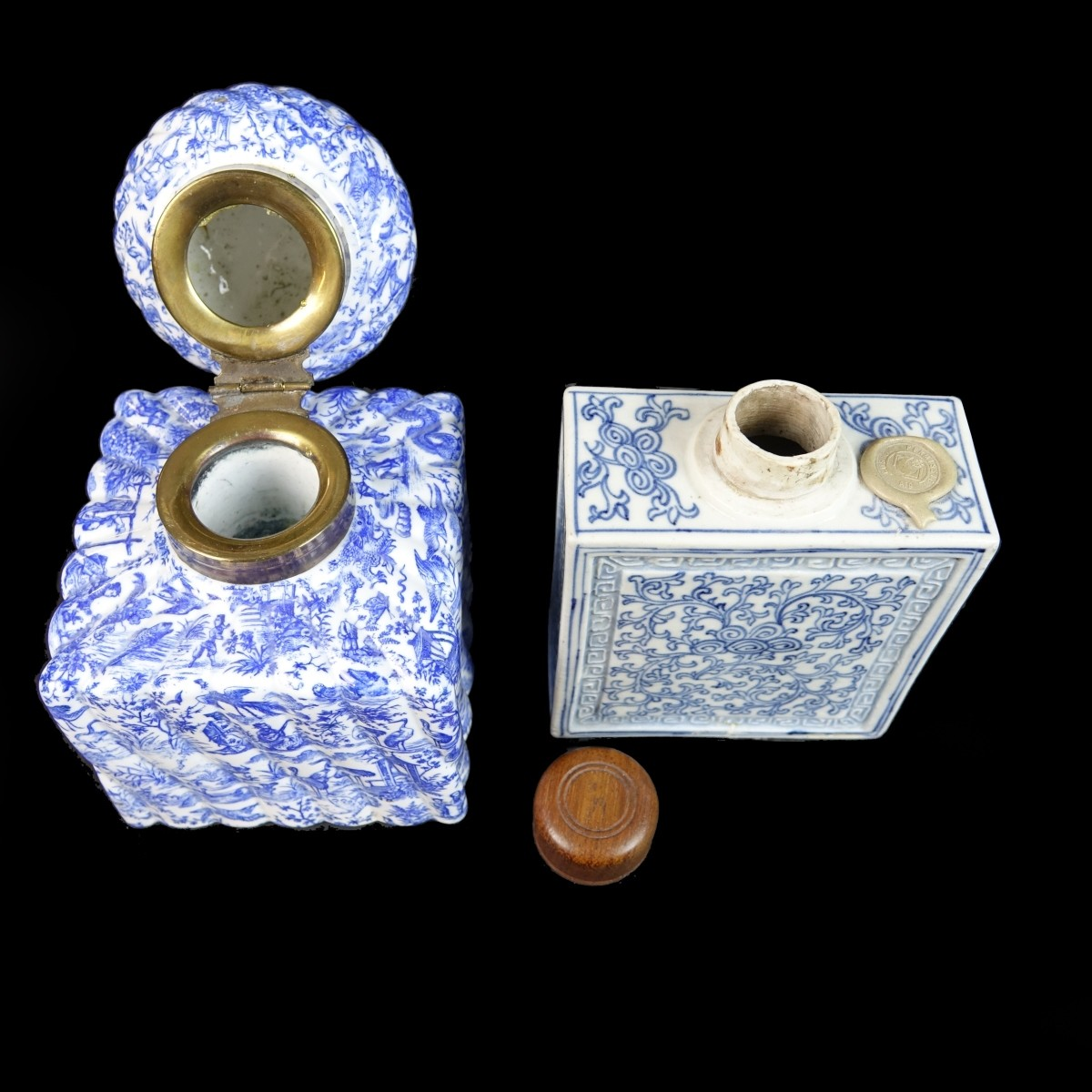 Chinese Porcelain Flask and Continental Inkwell