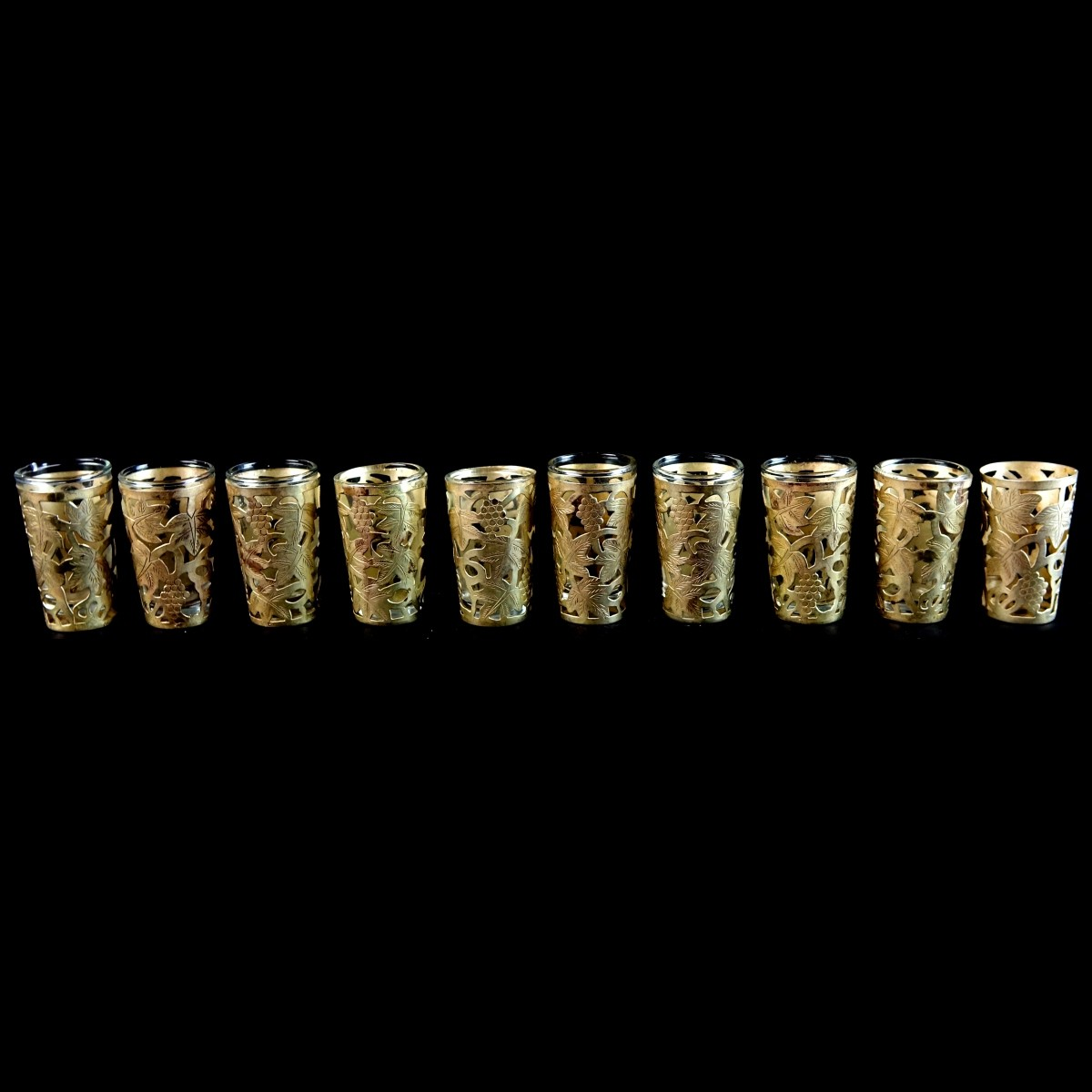 Ten (10) Mexican Sterling Overlay Shot Glasses