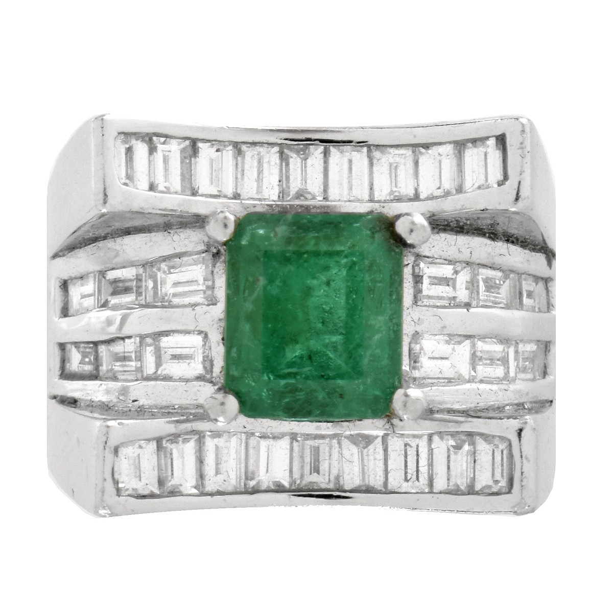 Emerald, Diamond and Platinum Ring