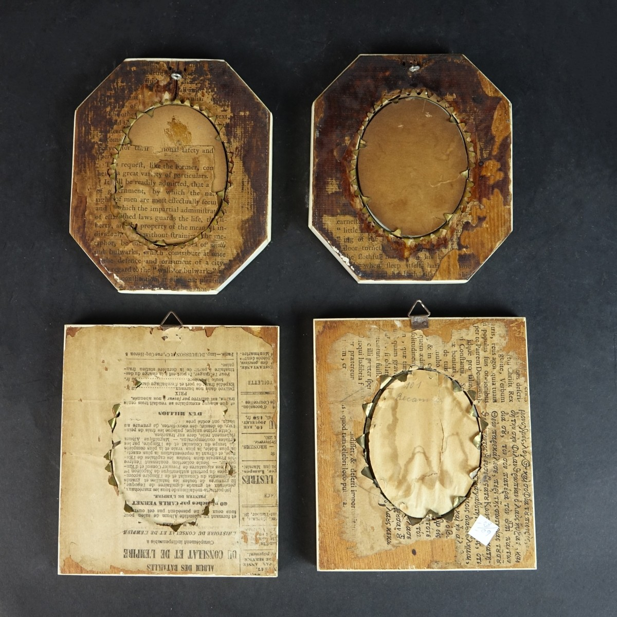 Four (4) 19th C. Miniature Portraits