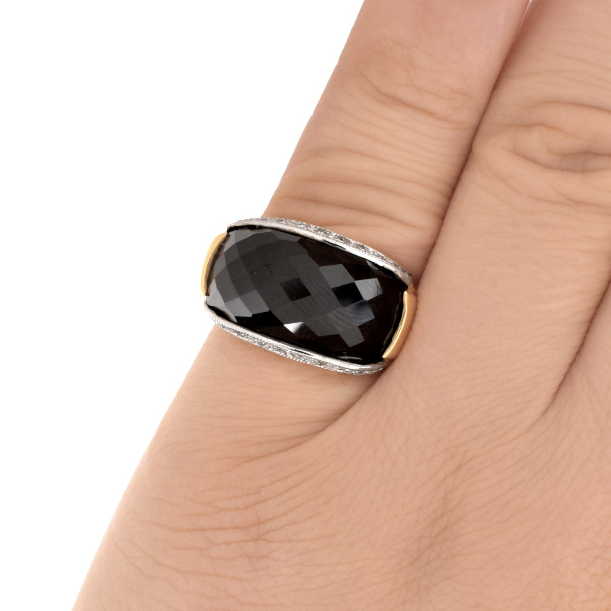 Onyx, Diamond and 14K Ring