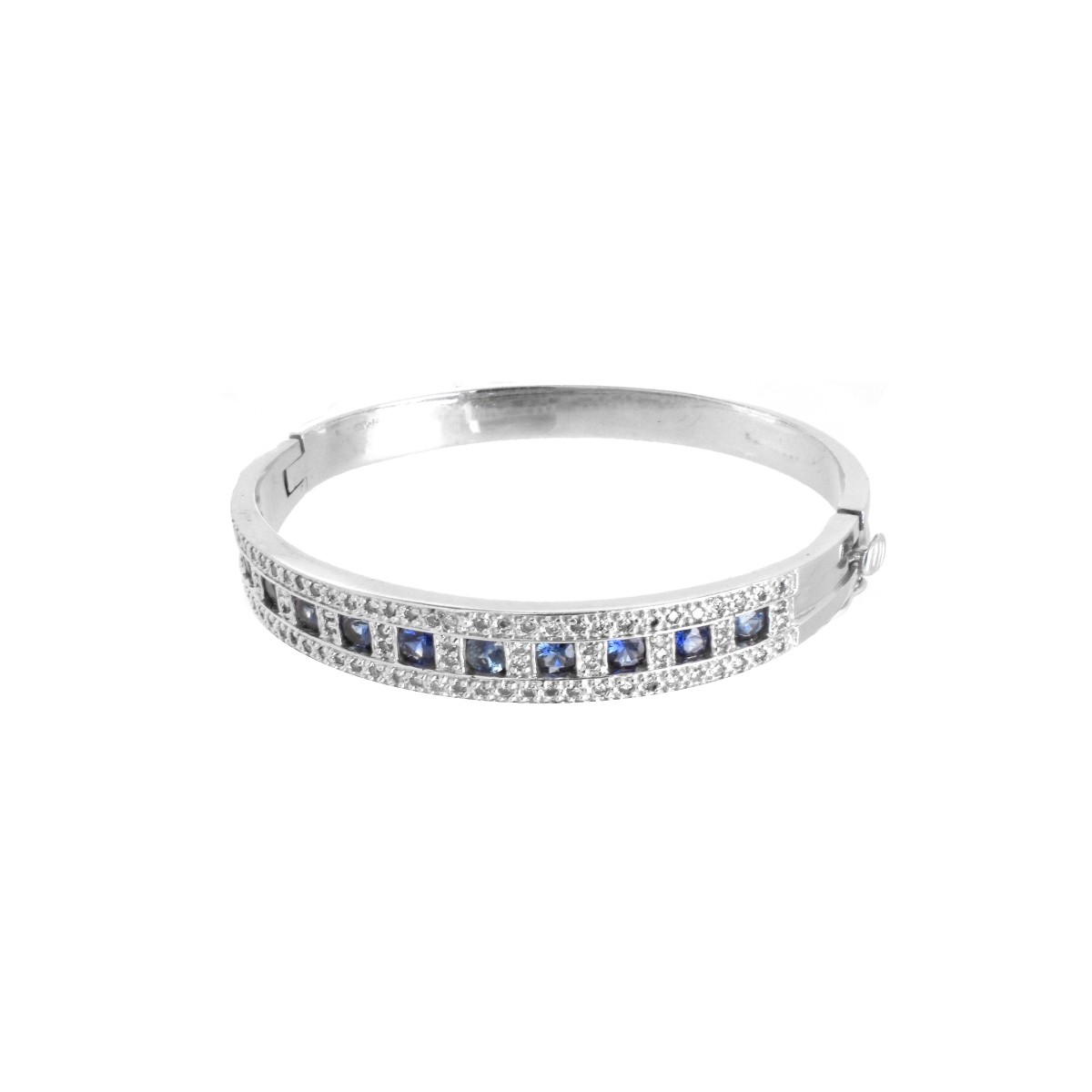 Sapphire, Diamond and 14K Bangle