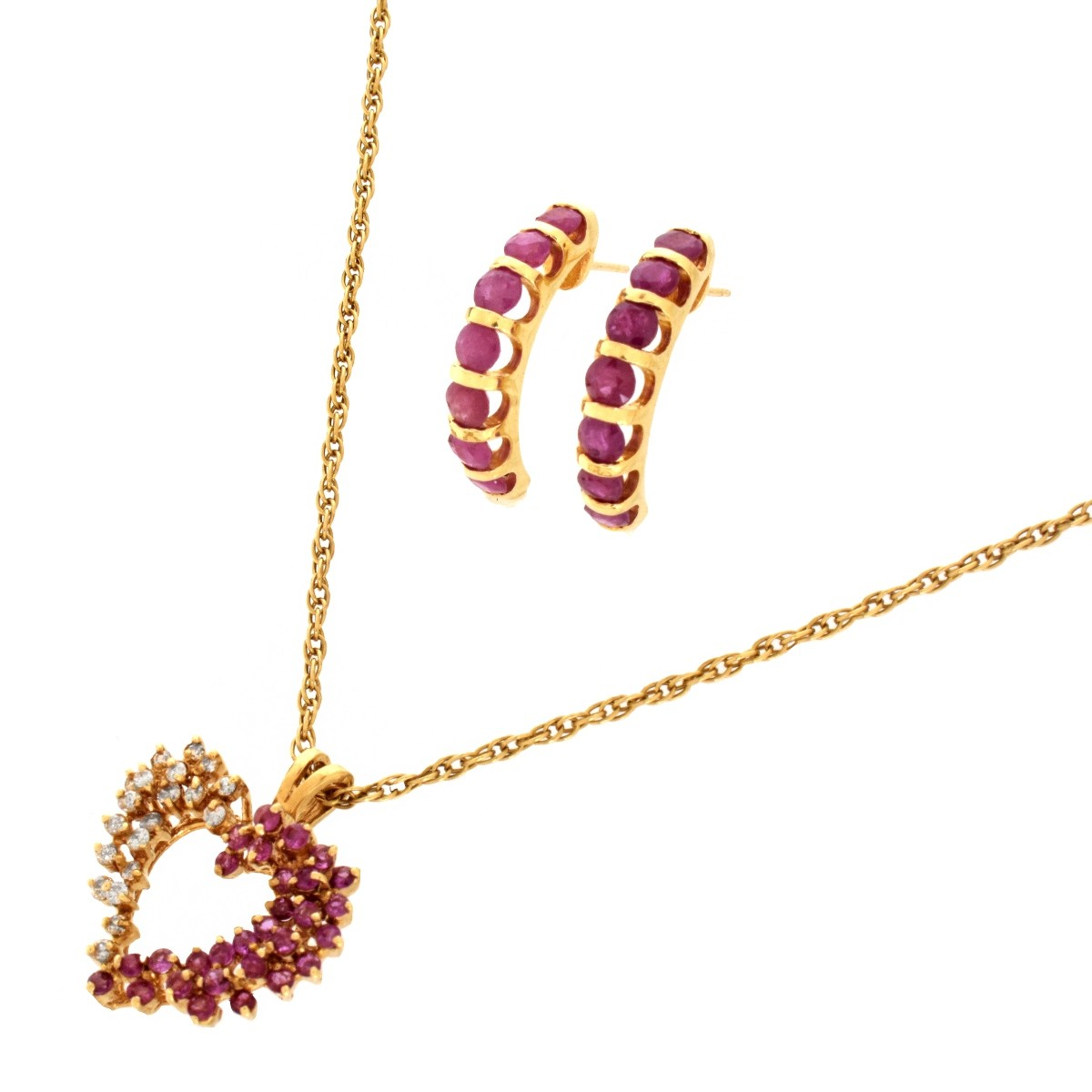 14K Ruby Jewelry Suite
