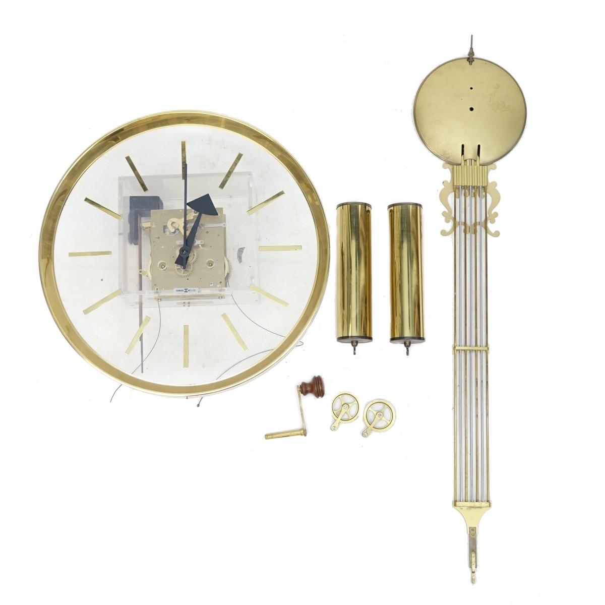 Howard Miller Lucite and Brass Wall Clock