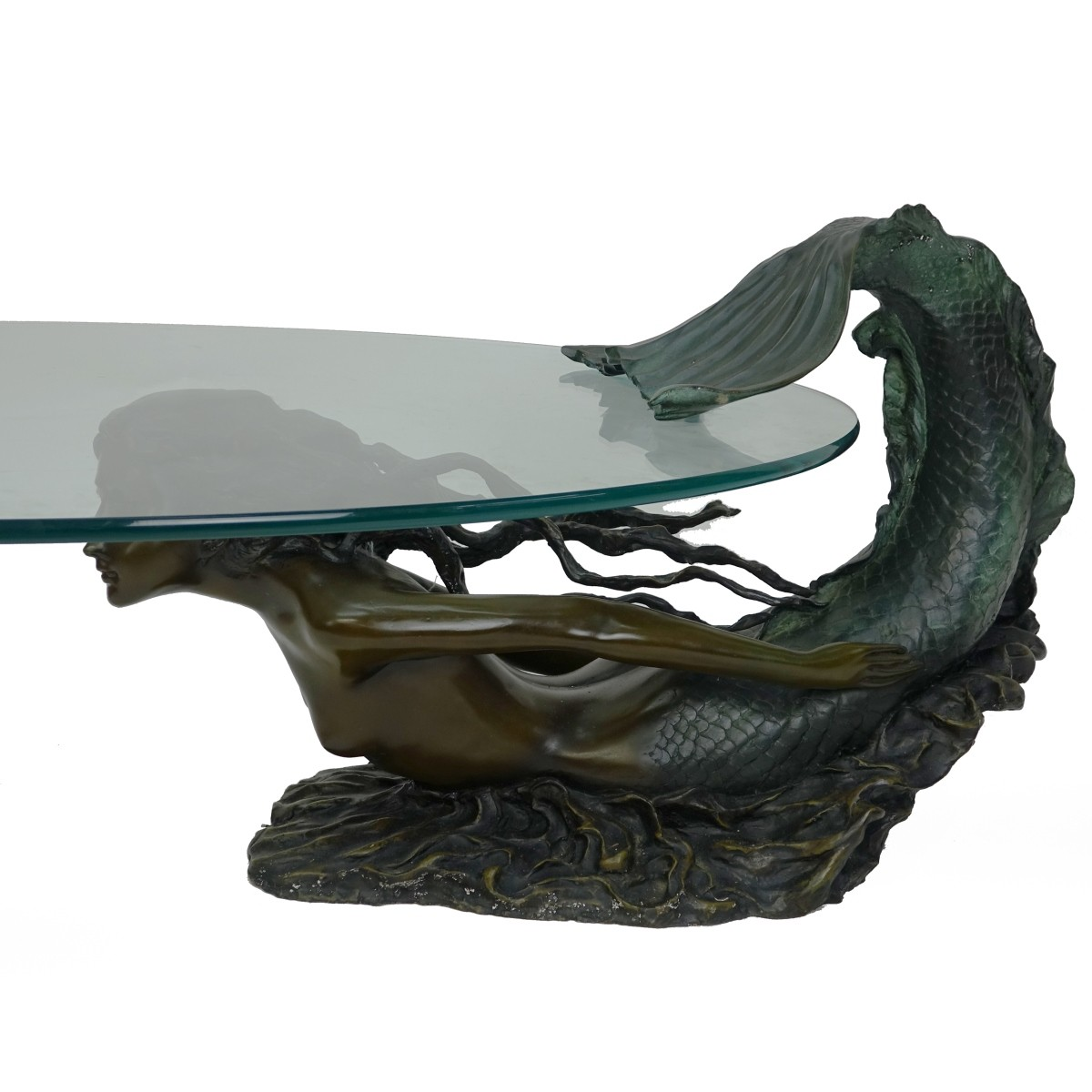 Bronze Mermaid Sculpture Coffee Table