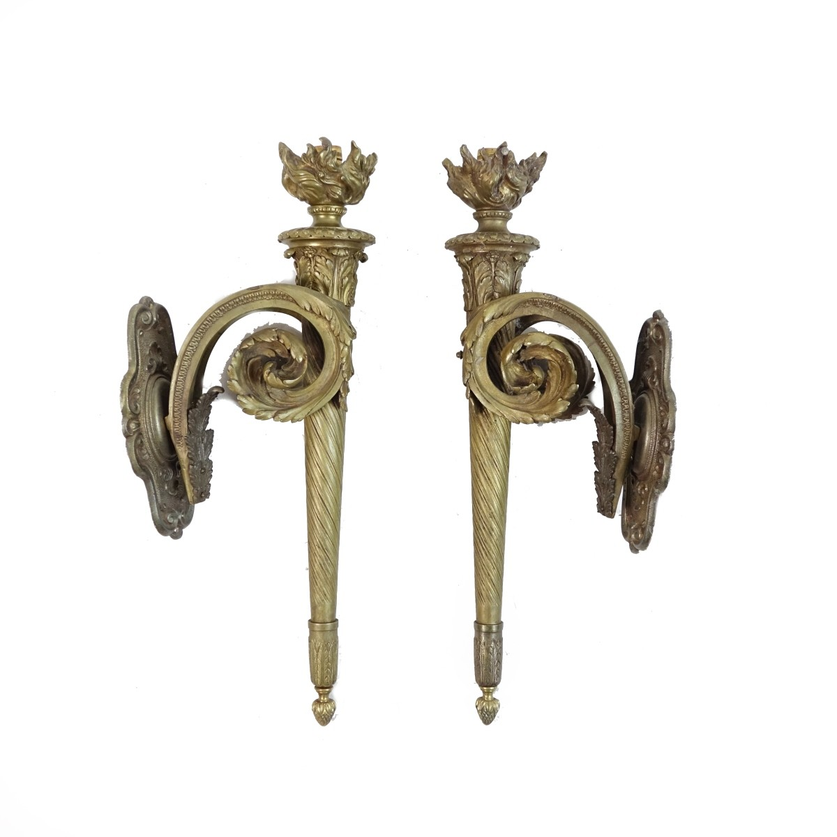 Pair of 19th C. Gilt Bronze Sconces