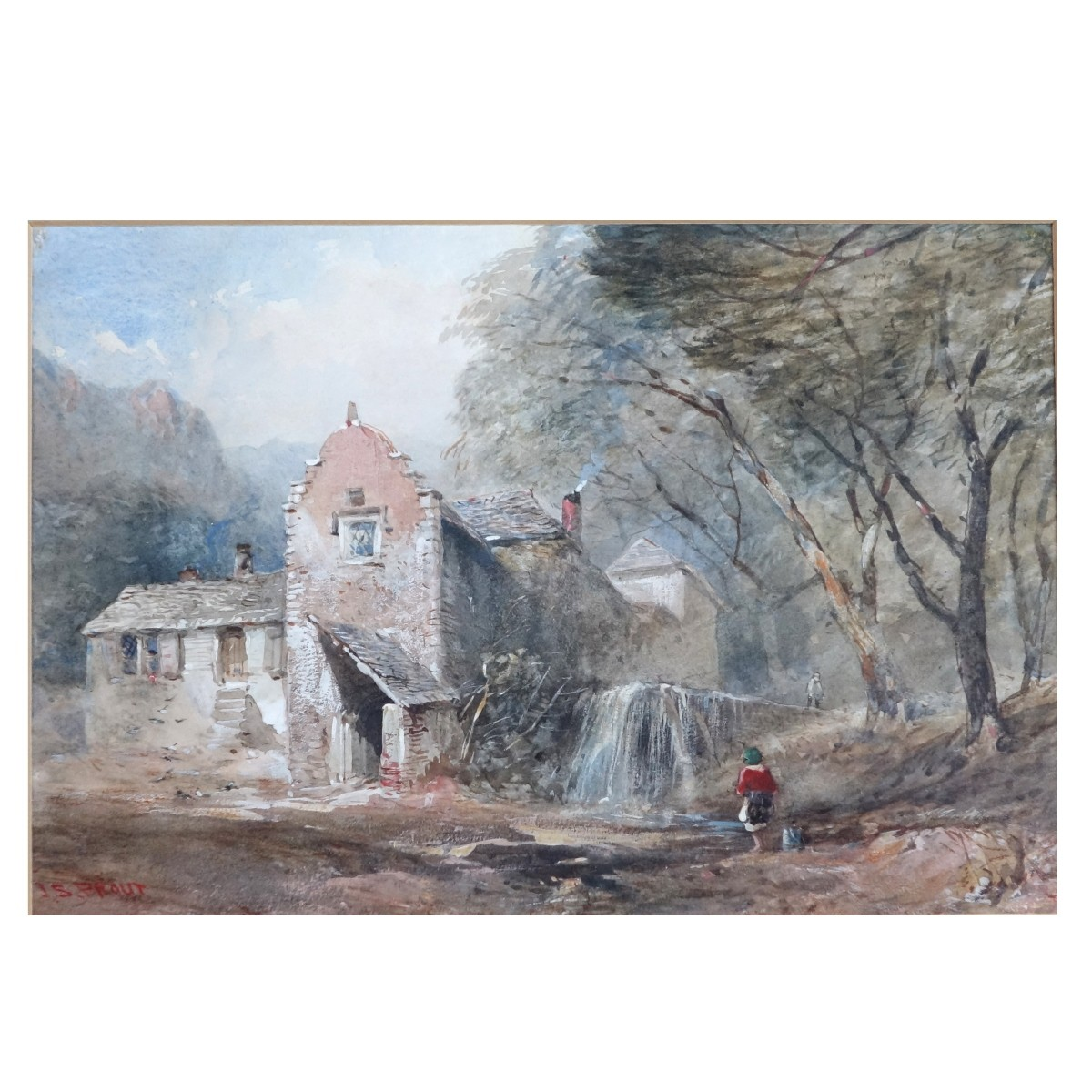 John S Prout (English 1806-1876) Watercolor Mill