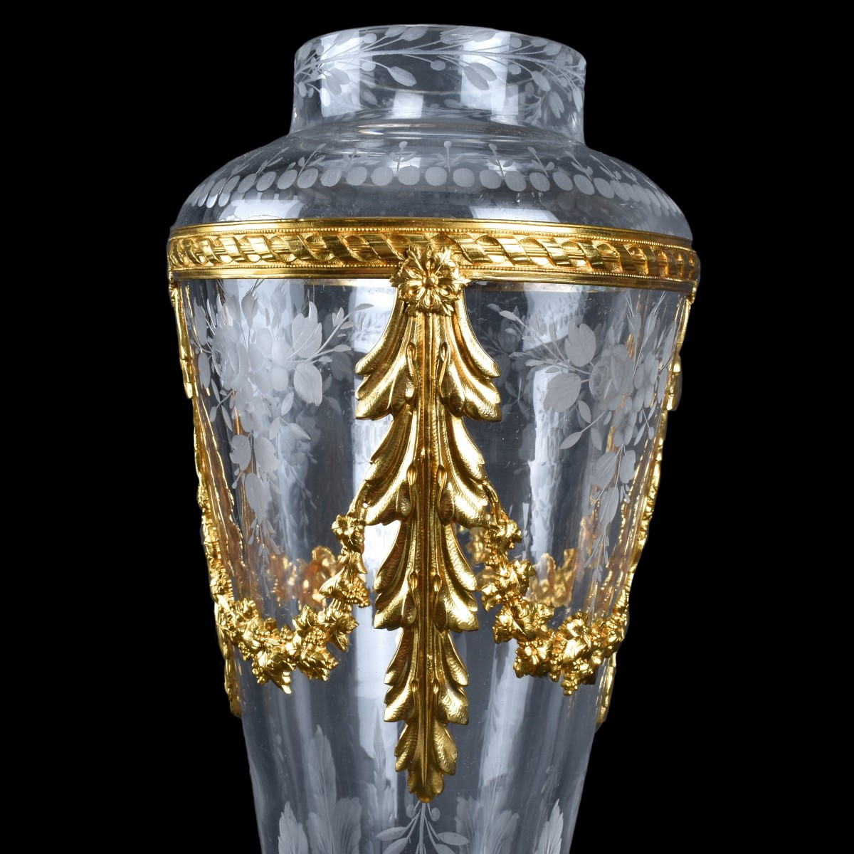 Bronze Mounted Baccarat Cut Crystal Vase