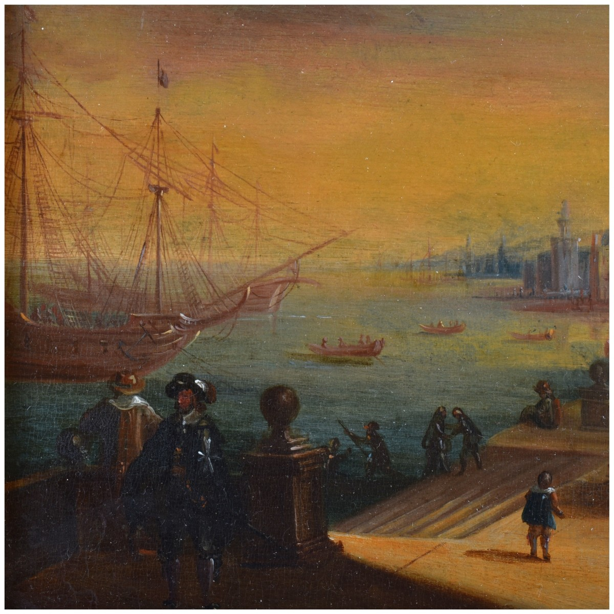 19th Century Oil on Board, Dutch Canal Scene