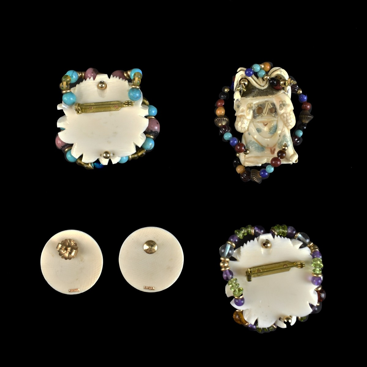Five (5) Oriental Carved Items with Gemstones