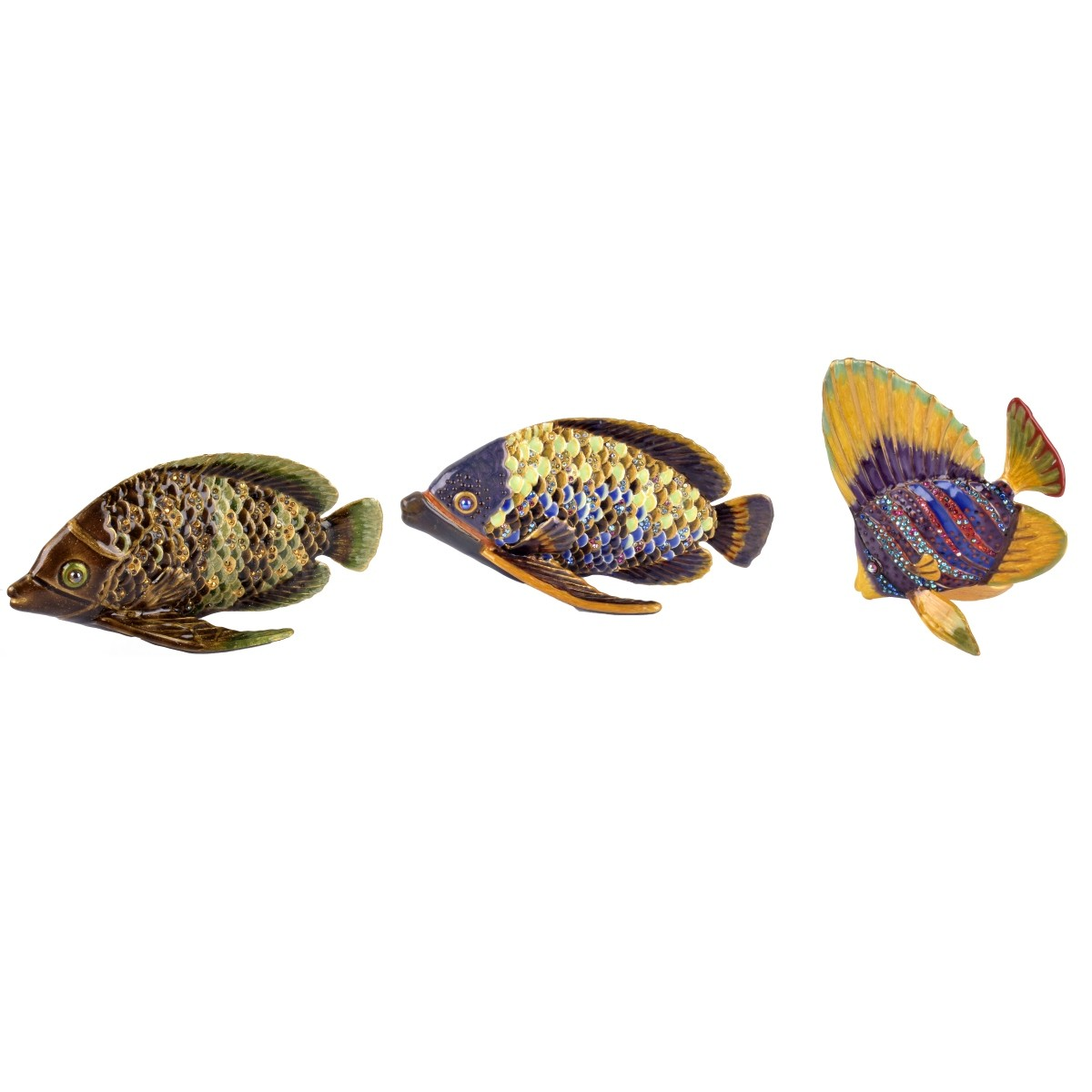 Three (3) Jay Strongwater Fish Figurines