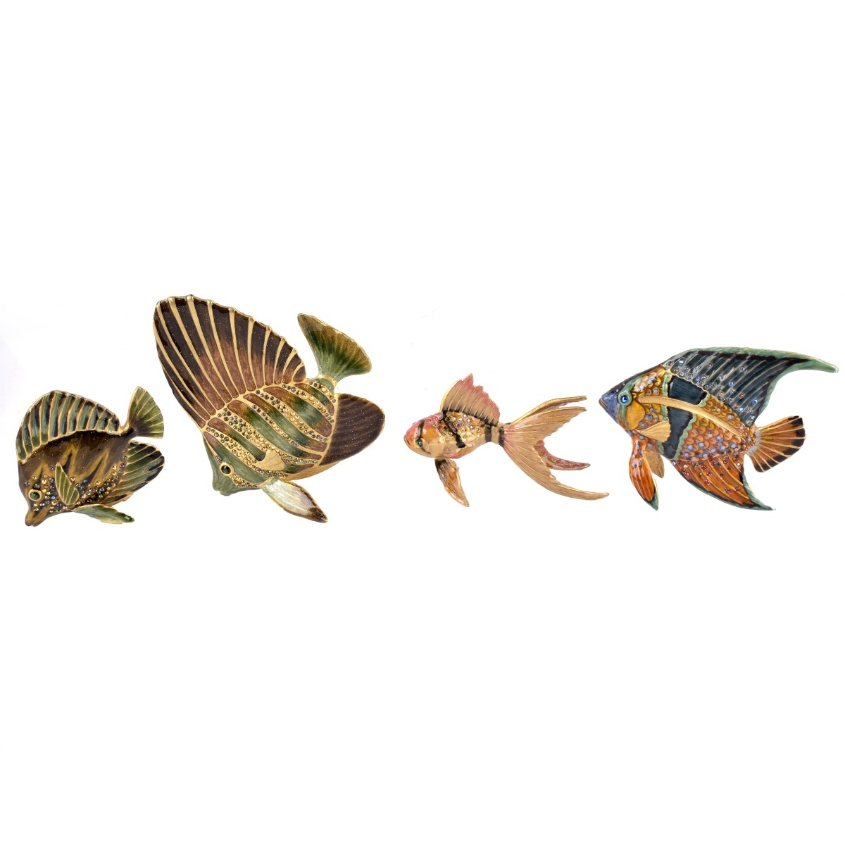 Four (4) Jay Strongwater Fish Figurines