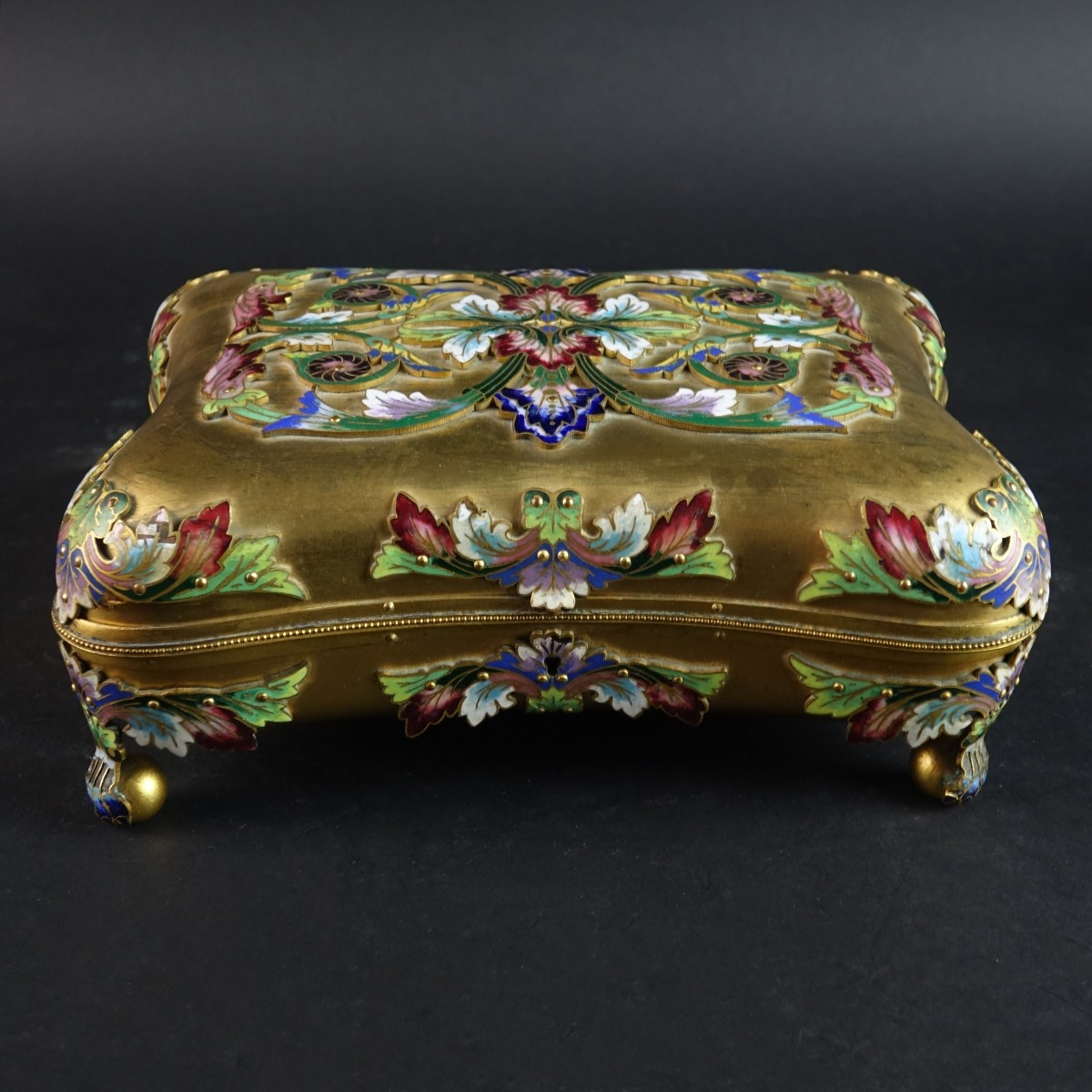 Antique French Gilt Bronze and Champleve Box