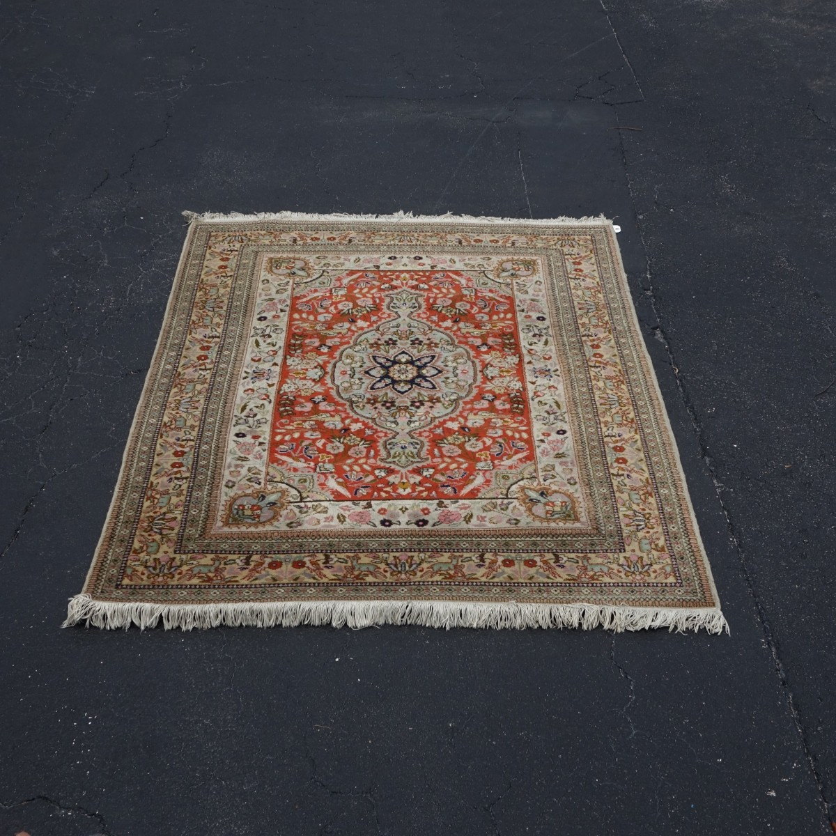 Semi Antique Persian Tree of Life Style Wool Rug