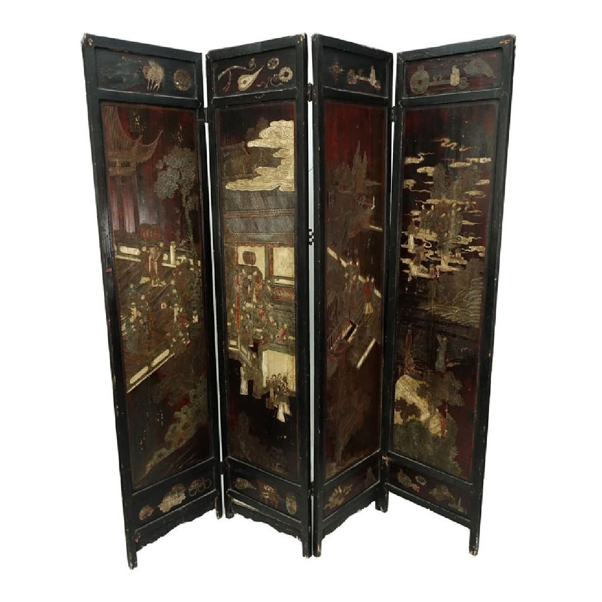 Antique Chinese Four (4) Panel Screen