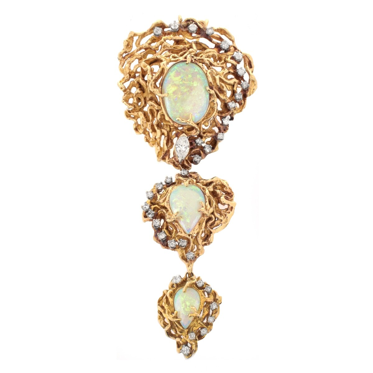 Opal, Diamond and 14K Pendant / Brooch