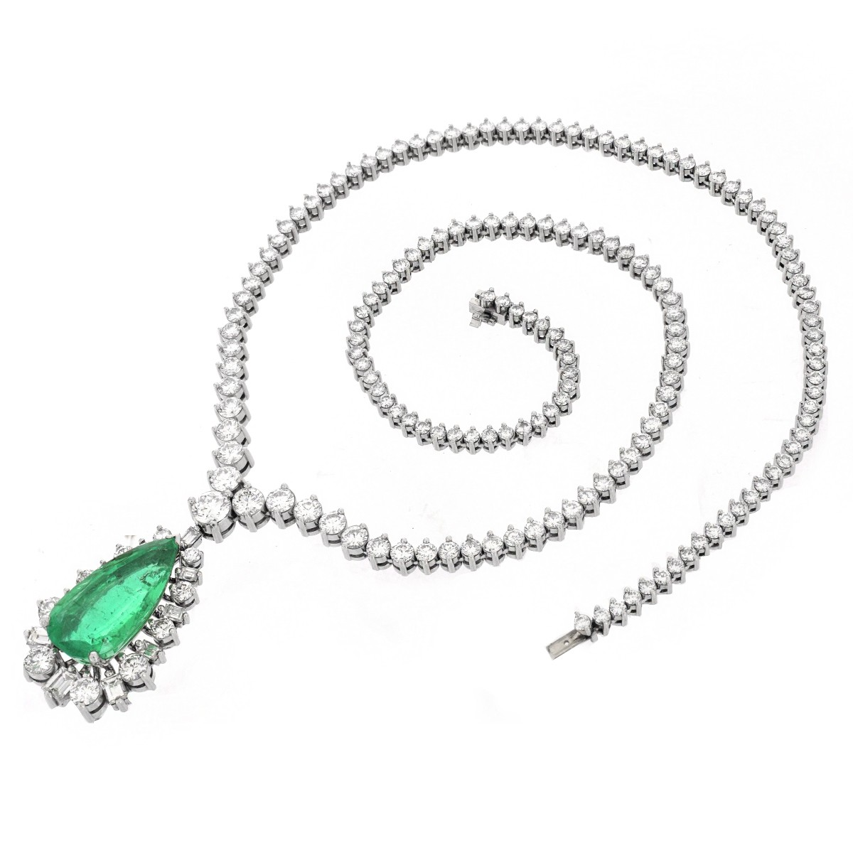 AGL Emerald, Diamond and Platinum Necklace