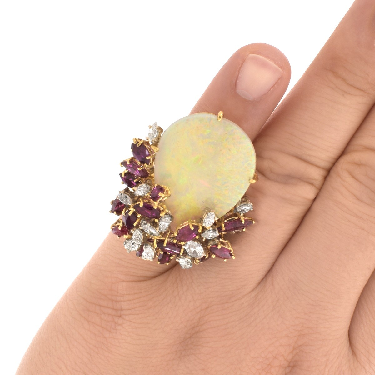 Opal, Ruby, Diamond and 18K Ring