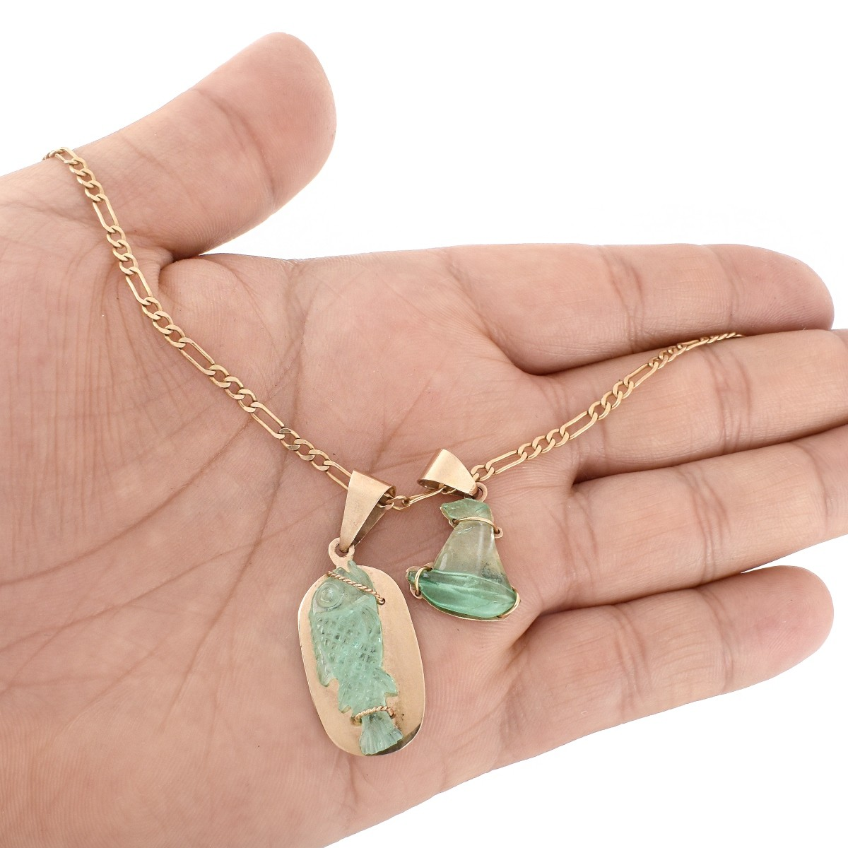 Italian Emerald and 14K Pendant Necklace