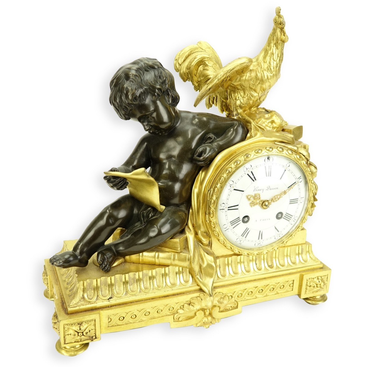 Henry Dasson Bronze Mantle Clock