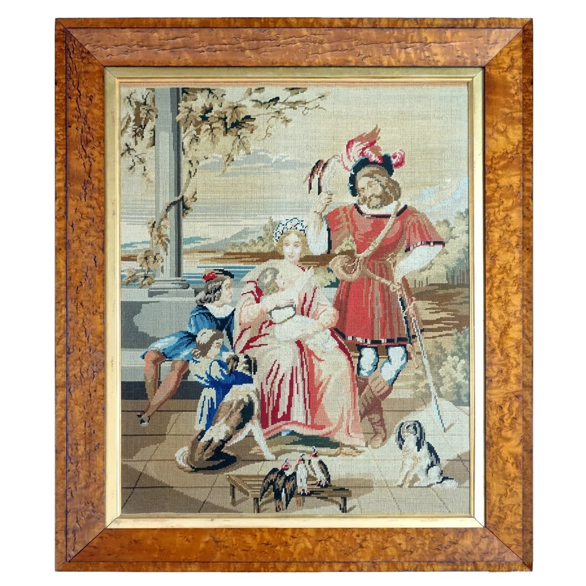Antique French Needlepoint Panel