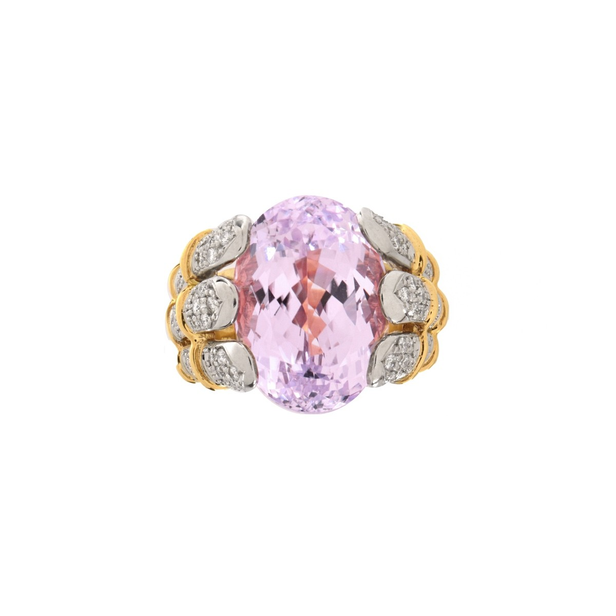 Kunzite, Diamond and 18K Ring