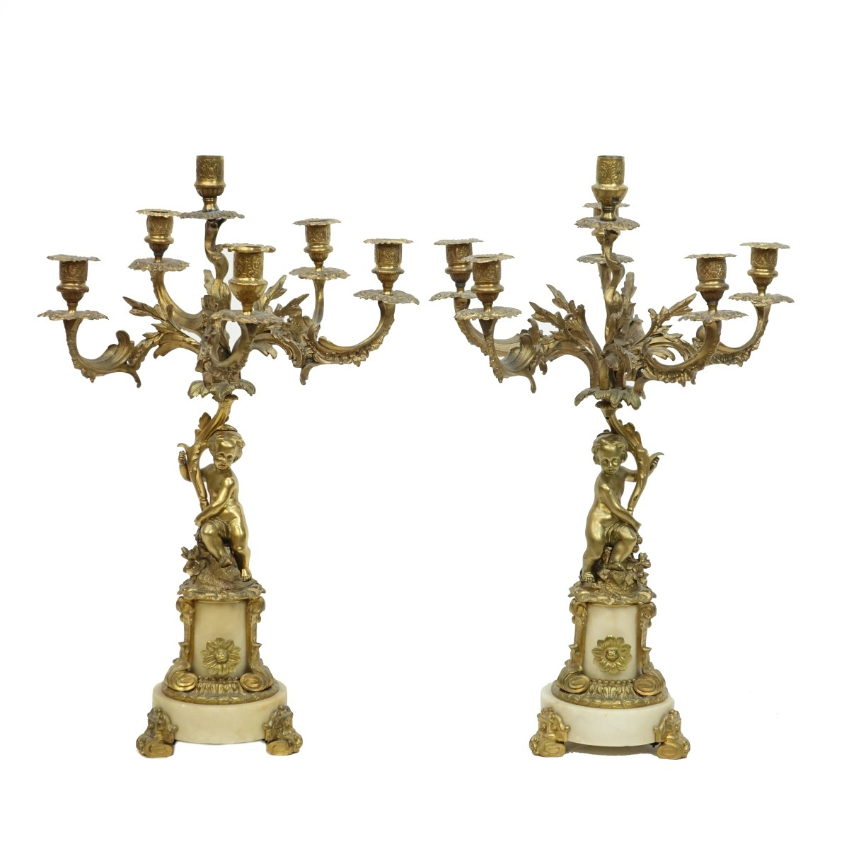 Pair of Antique French Bronze Candelabra