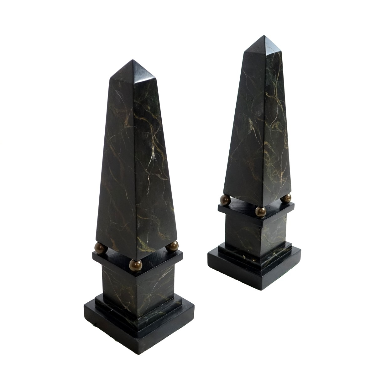 Pair of Slate and Bronze Obelisks