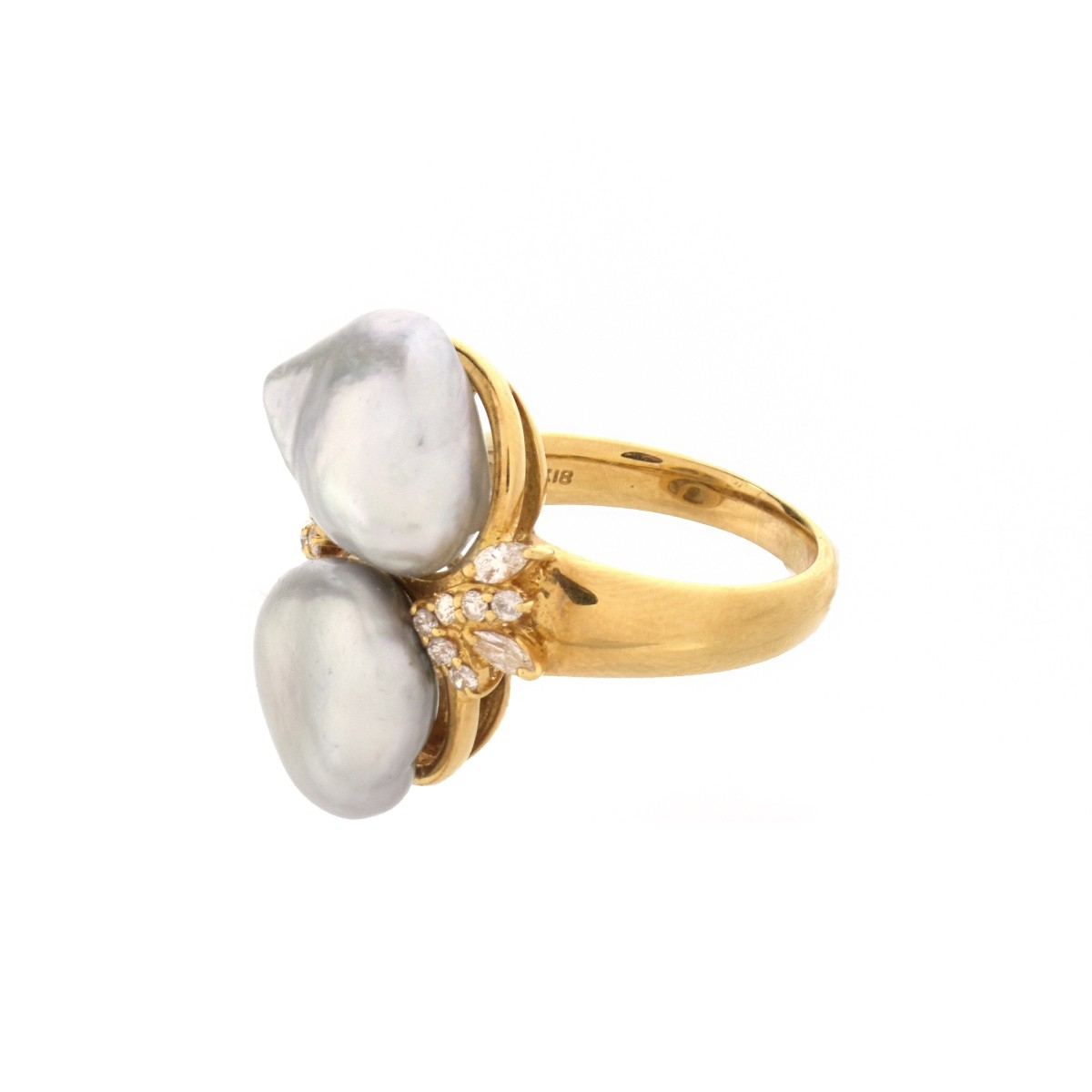 Pearl, Diamond and 18K Ring