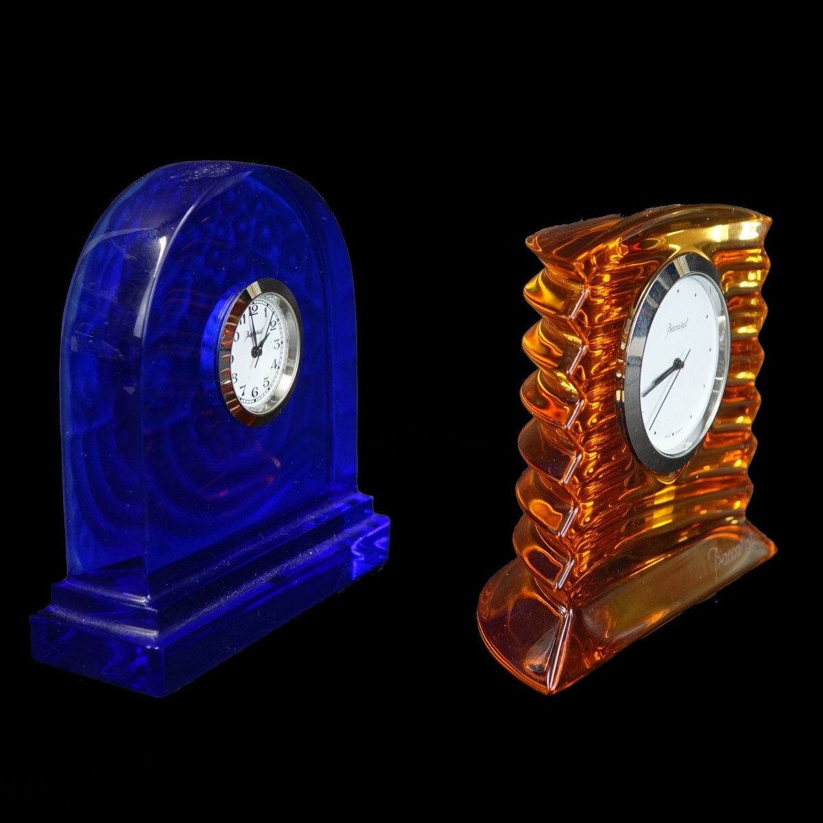 Two (2) Baccarat Miniature Crystal Clocks