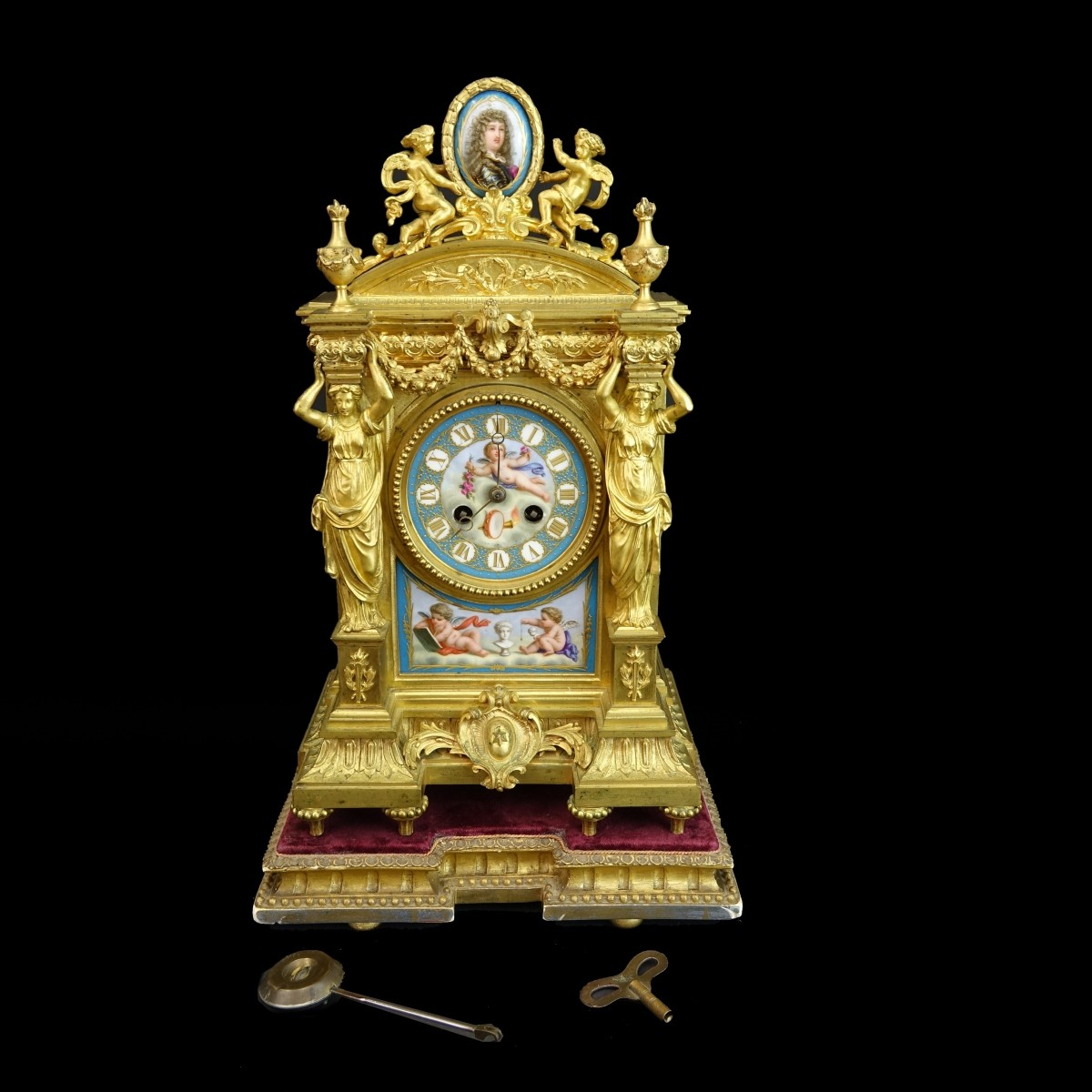 Antique French Sevres Style Mantle Clock