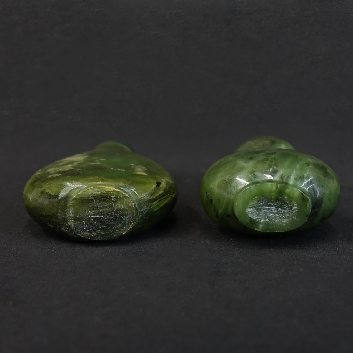Two (2) Chinese Nephrite Jade Snuff Bottles