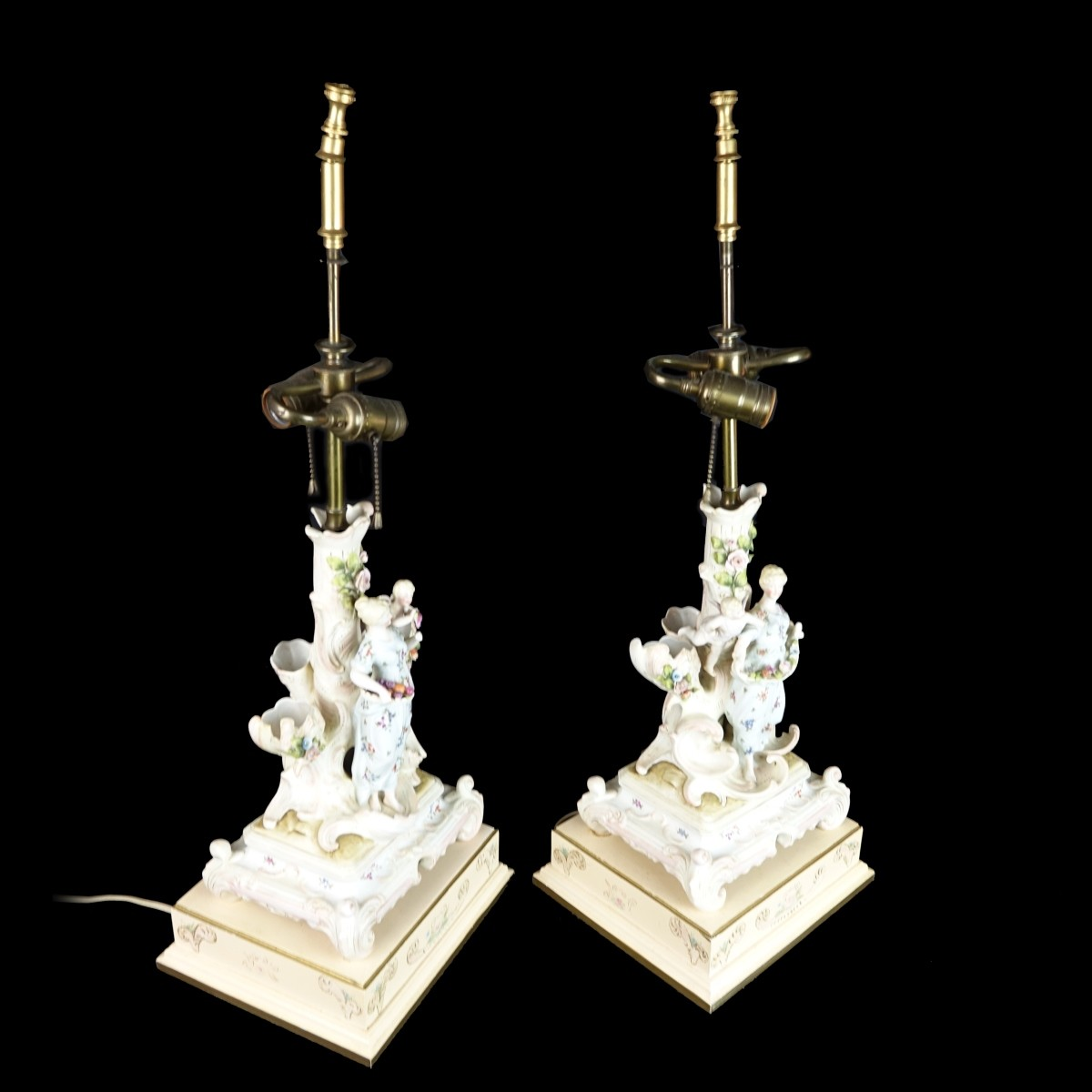 Pair of German Candlesticks Mounted as lamps
