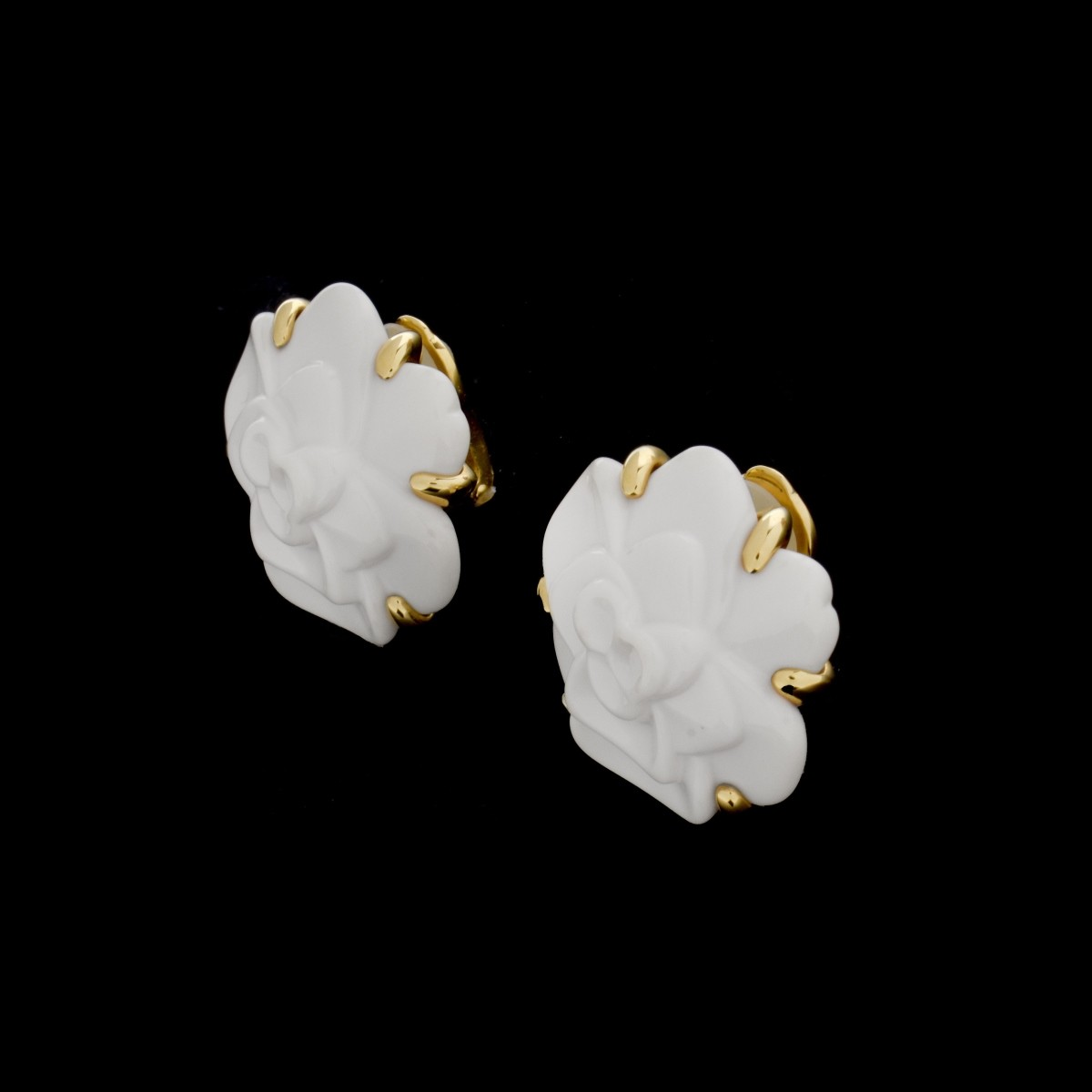 Chanel Agate and 18K Earrings