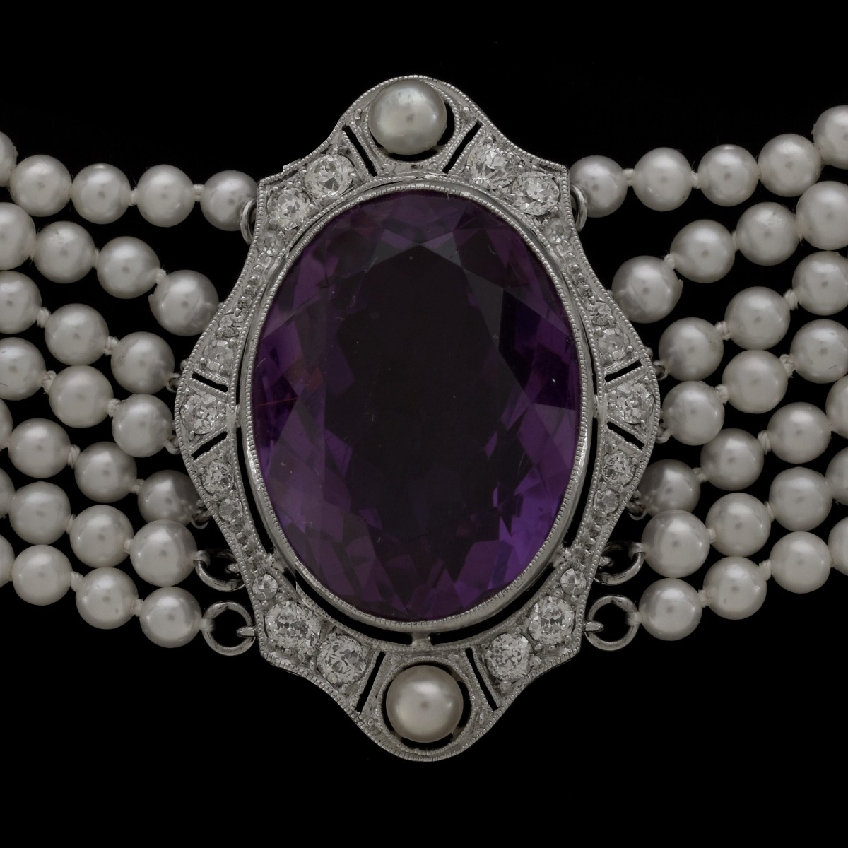Amethyst Diamond Pearl and Platinum Necklace