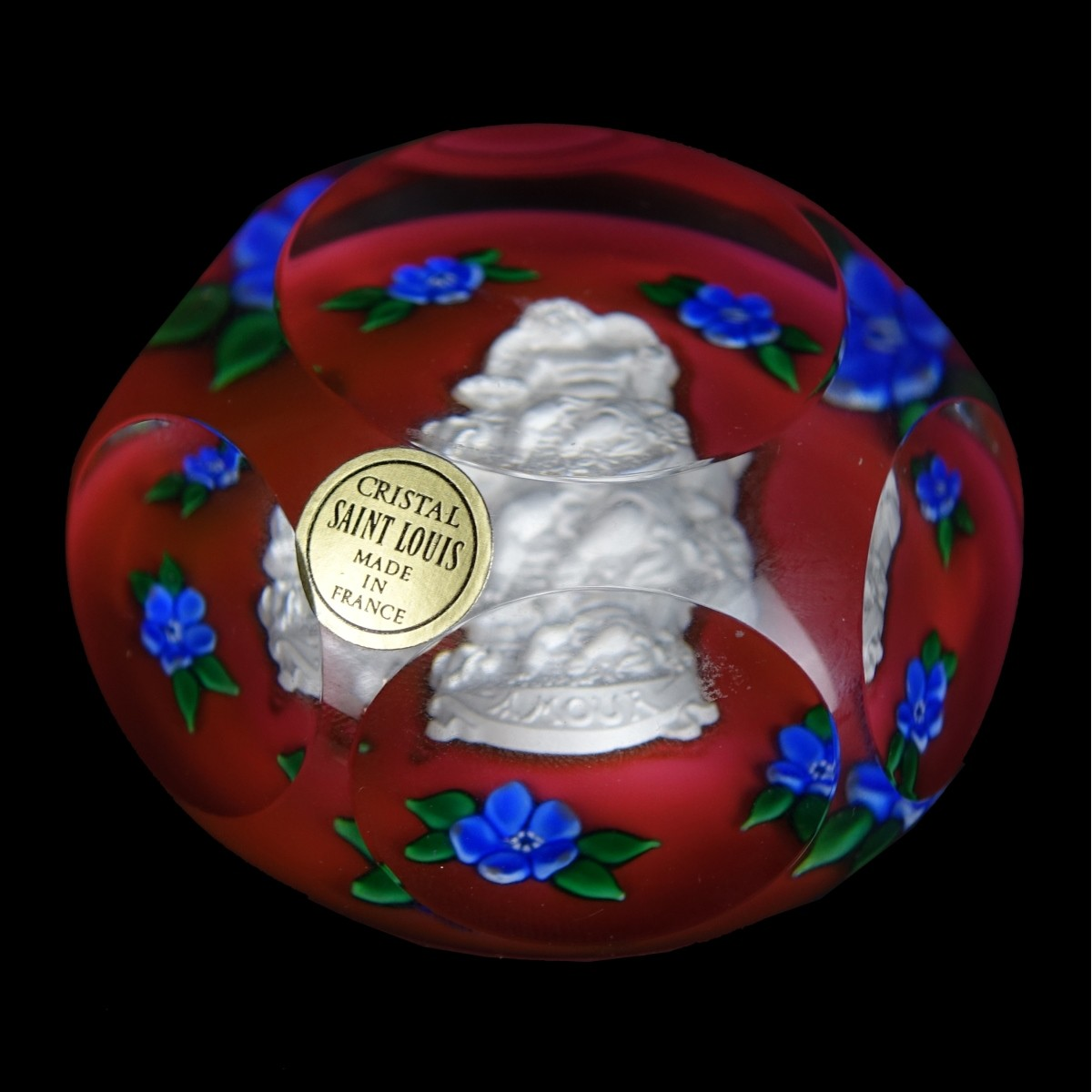 "Saint Louis ""Amour"" Crystal Paperweight"