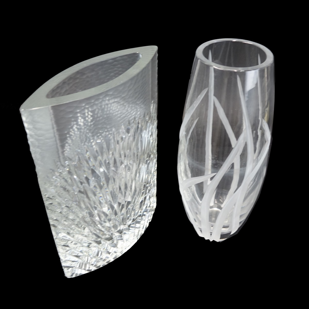 Two (2) Vintage Cut Crystal Vases