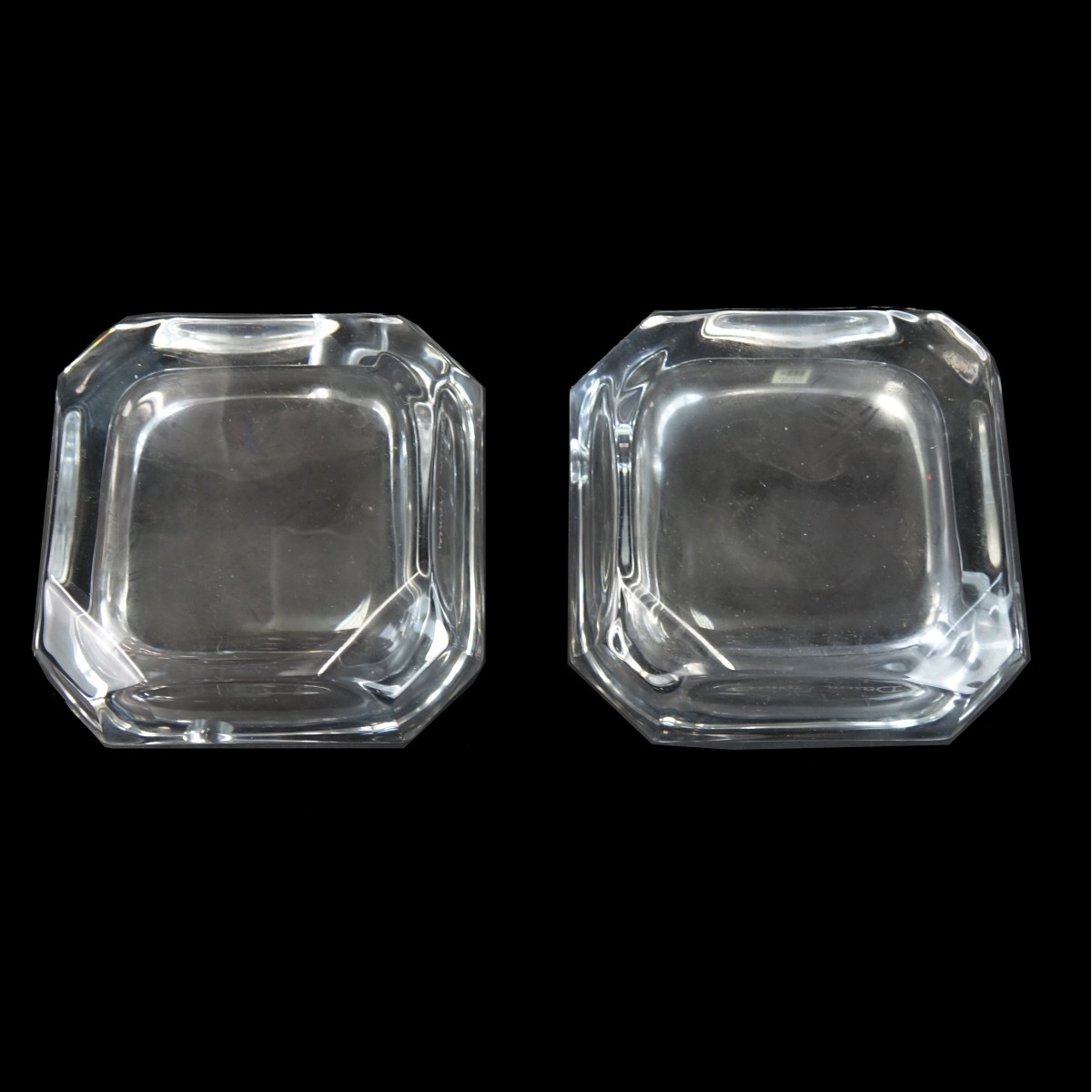 Pair of Daum Crystal Ashtrays in Boxes