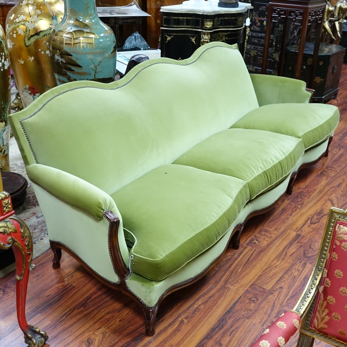 French Style Carved Wood and Upholstered Sofa