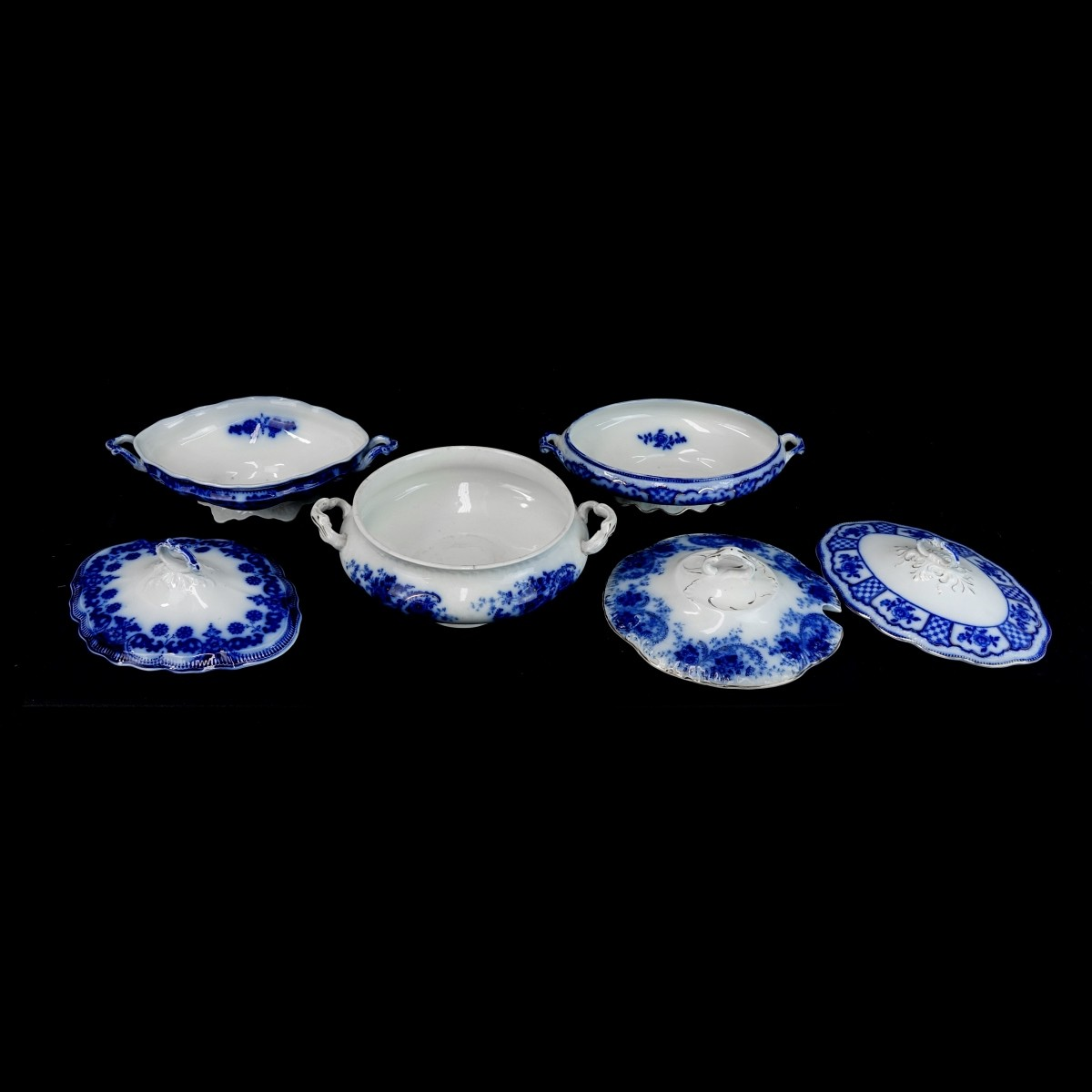 Three (3) Antique Flow Blue Covered Casseroles