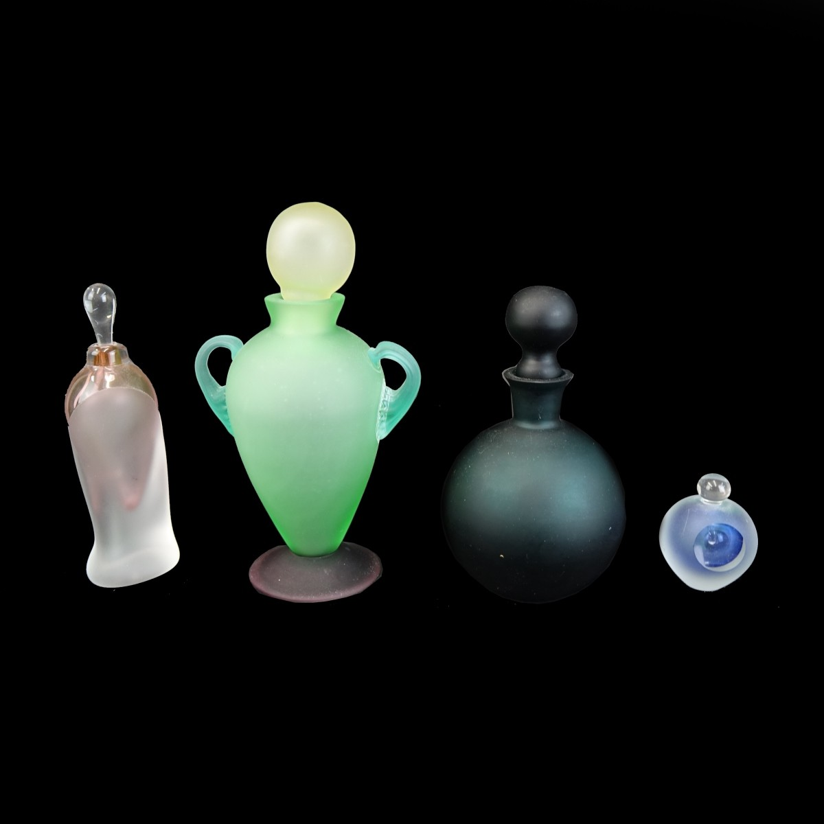 Four (4) Modern Art Glass Perfume Bottles