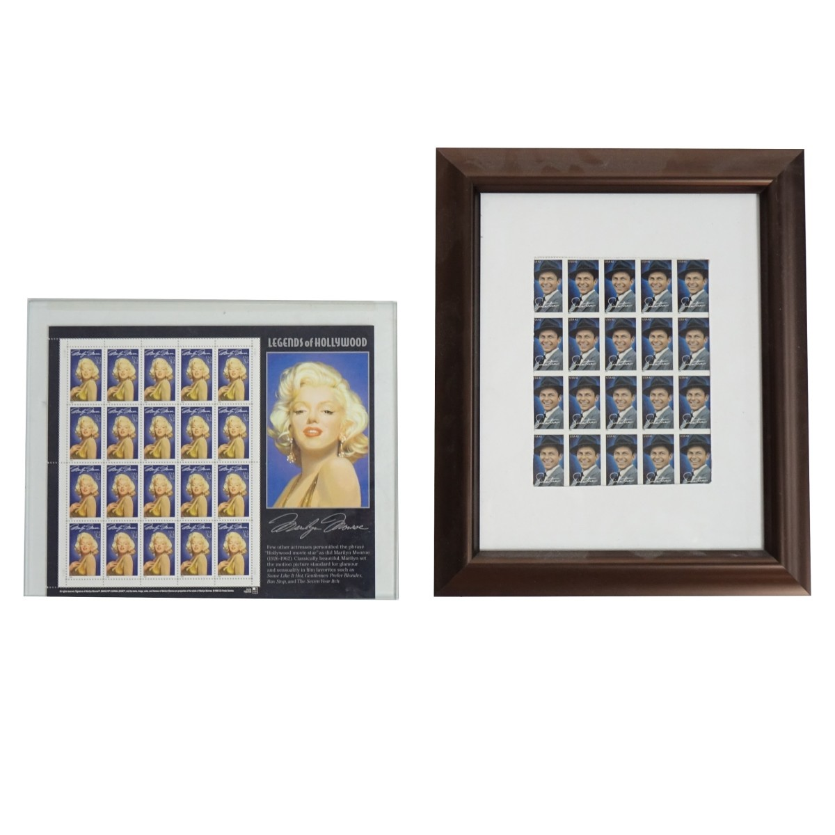 Two (2) Stamp Sheets Presented in Frames