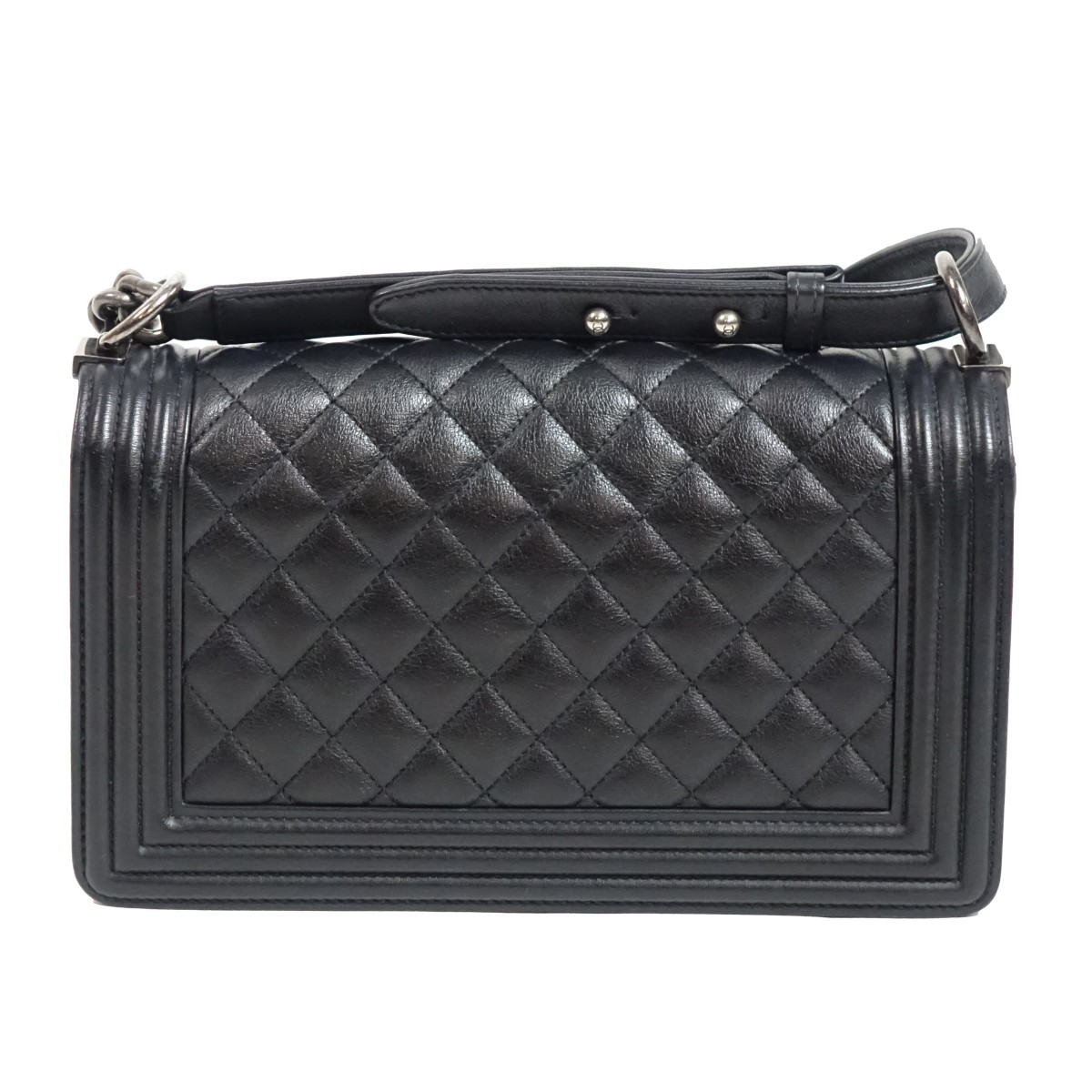 Chanel Black Lambskin Boy Bag Handbag