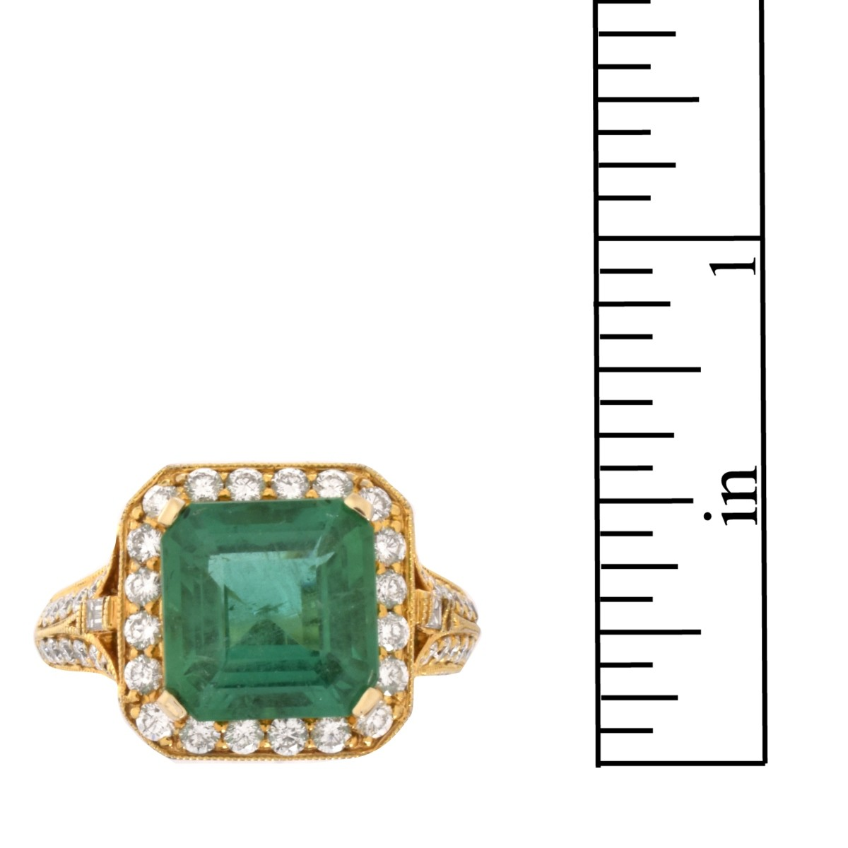 Emerald, Diamond and 18K Ring