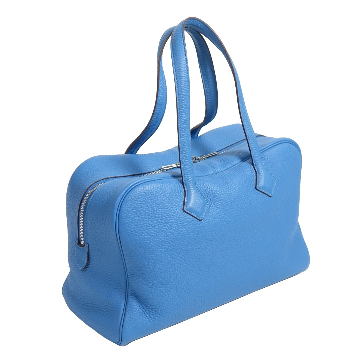 Hermes Blue Jean Leather Victoria II Tote Bag