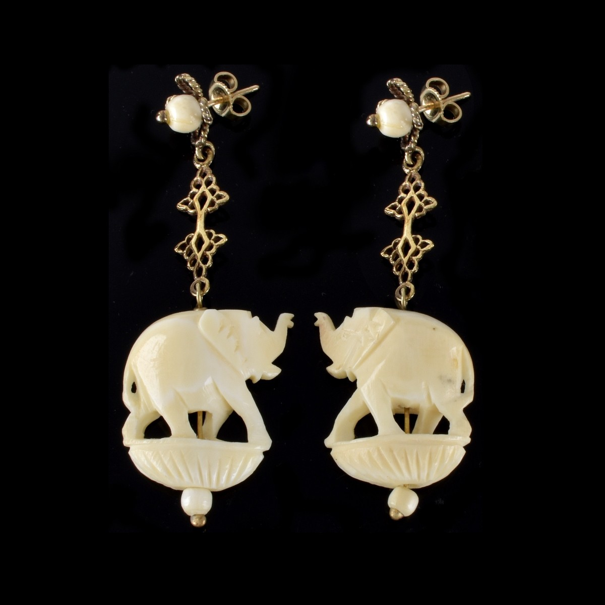 14K Carved Elephant Earrings