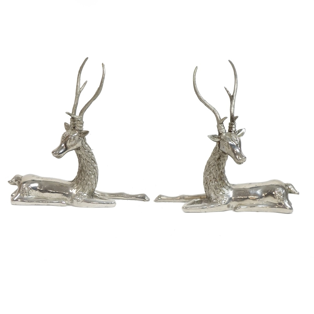 Pair of Modern Silvered Metal Deer Sculptures