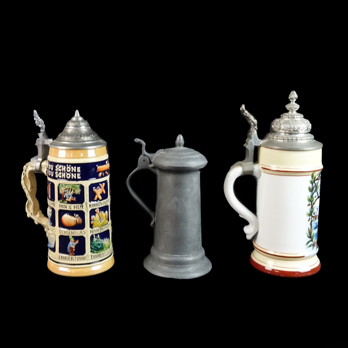 Three (3) Vintage German Beer Steins