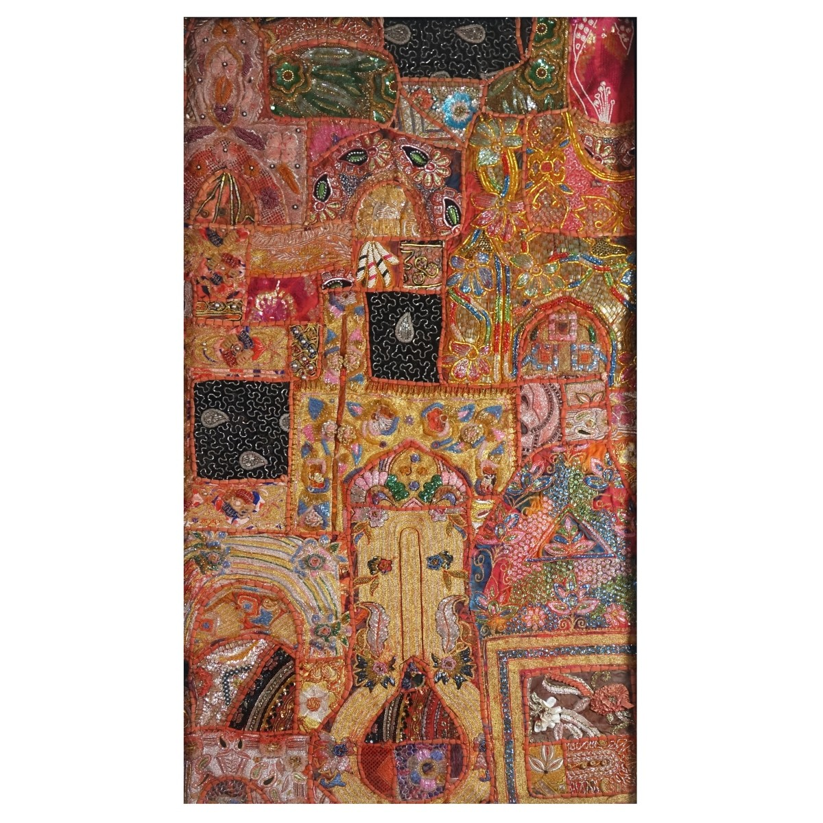 Large Indian Hand Embroidered Patchwork Tapestry